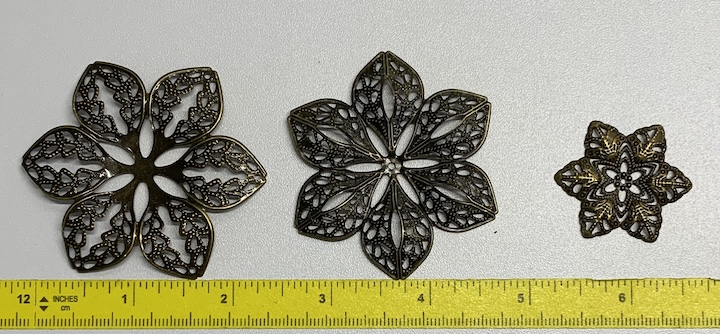 Berry Toppers - Antique Bronze Filigree Embellishments 3 pc set