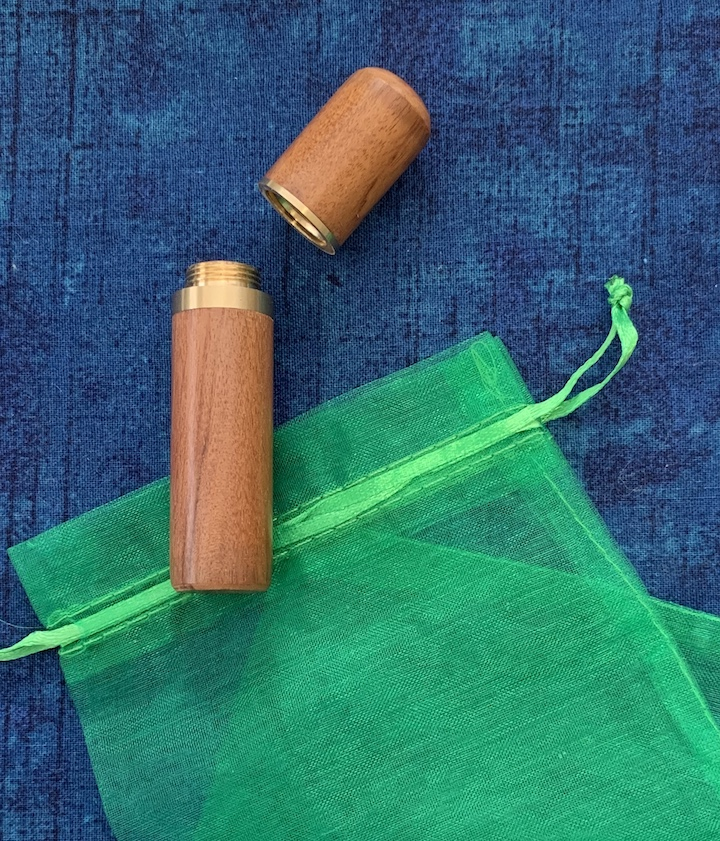 Medium Brown Wood Needle Case with Brass