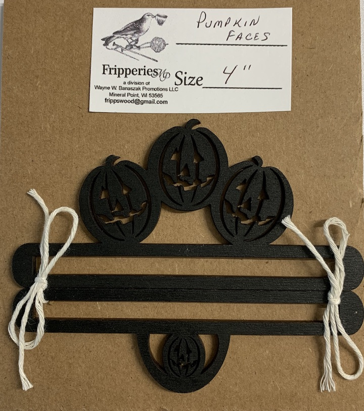 Bell Pull - PUMPKIN FACES Black - 4 inches
